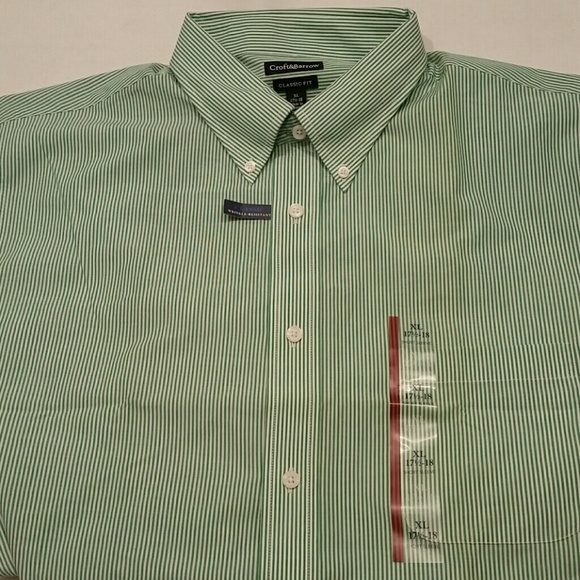 New Croft /& Barrow Mens Classic Fit Button Down Short Sleeve Dress Shirt White